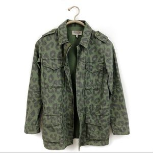 Urban outfitters ecote leopard military jacket